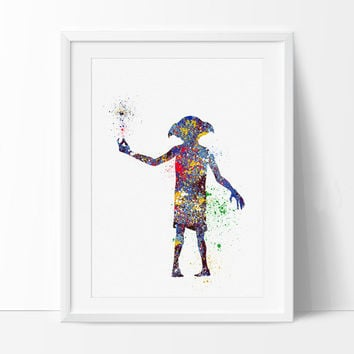 Dobby Harry Potter Art Print, Nursery Art Print, Dobby Watercolor Art, Harry Potter Wall Art Poster Kids Decor  - 65