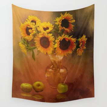 Sunflower Reflections Wall Tapestry by Theresa Campbell D'August Art
