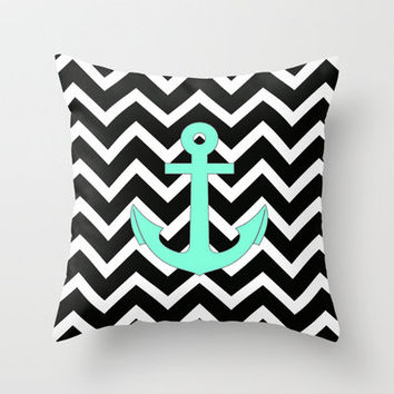 Tiffany Turquoise Anchor Black Zigzag Pattern Throw Pillow by Rex Lambo | Society6