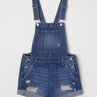 Denim Bib Overall Shorts - Dark blue - Ladies | H&M US