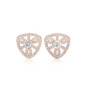 Collette Z Rose Gold Overlay Cubic Zirconia Crest Earrings | Overstock.com Shopping - The Best Deals on Cubic Zirconia Earrings