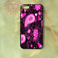 Pink Paisley in black background iPhone 5, 5s, 5c, 4s, 4, ipod 4, 5, Samsung GS3, GS4 case-Silicone Rubber or Hard Plastic Case, Phone cover
