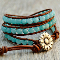 Turquoise blue beaded triple wrap bracelet. Bead and leather wrist wrapping bracelet.