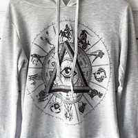 Illuminati Eye Long Sleeve Hoodie Shirt for Women in Grey