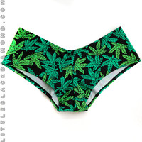 Green Pot Leaf Boyshorts