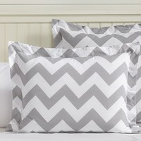 Chevron, Standard Sham, Light Gray