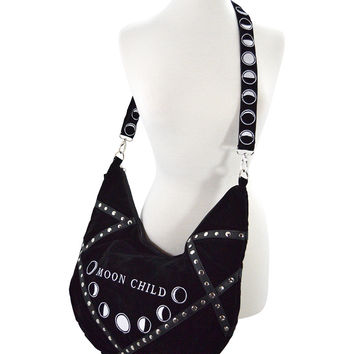 Restyle Gypsy Gothic Witch Moon Child Black Velvet Large Slouchy Hobo Bag