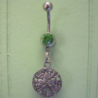 Belly Button Ring - Body Jewelry -Silver Sand Dollar With Green Gem Stone Belly Button Ring
