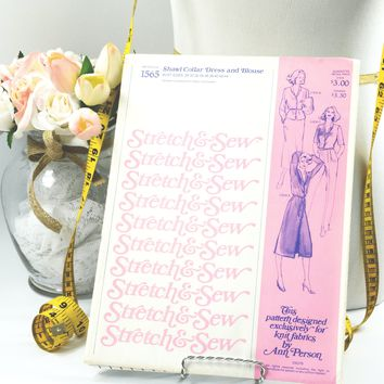 Shawl Collar Dress - Vintage Sewing Pattern -  Vintage Pattern - Vintage Stretch & Sew Pattern - Pattern #1565 - 1970s Pattern - Ann Person