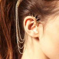 Punk Gold Metal Spikes and Comb Ear Cuff