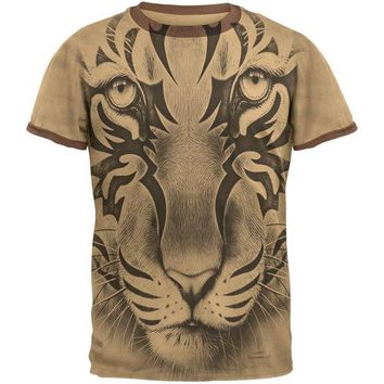 ONETOW Tribal Tiger Ghost Tan-Brown Men's Ringer T-Shirt