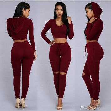 New 2pc Hot sportwears woman tracksuit hoodies 2 Different colors