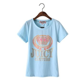 Juicy Couture Glitter Crown Graphic Tee T010 Women T-shirt Sky Blue