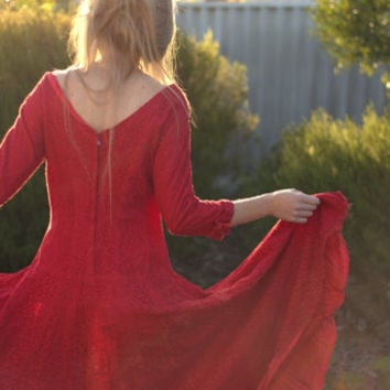 Vintage Red Lace 50s dress. Vintage fifties red dress. Vintage red dress with rhinestone buttons