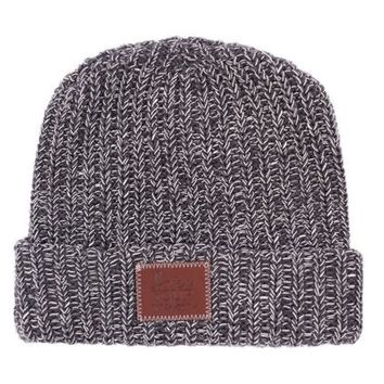 Charcoal and White Speckled Cuffed Beanie - Love Your Melon