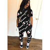 Free shipping-Champion women's full printed logo sports suit two-piece Black