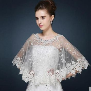 Bridal Bolero Lace Edge Shrug Wedding Jacket