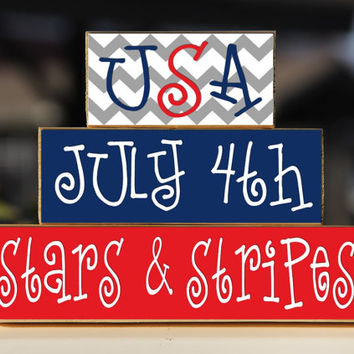 USA July 4th Stars and Stripes - Trio Wood Blocks Stack - Red/White/Blue - Home Decor/Gift - Wooden Blocks