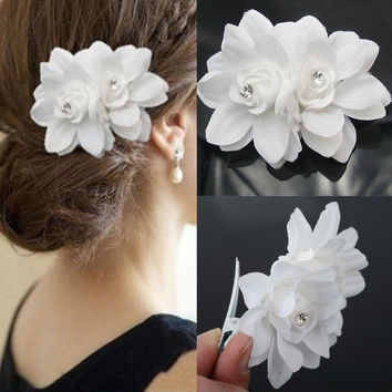 1PC Fashion Beautiful Summer Popular White Bridal Wedding Party Activities Orchid Flower Hair Clip Barrette Women Accessories