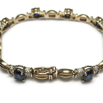 Created Sapphire Bracelet 7.5 in Vintage Gold Over Sterling
