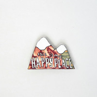 Fridge Magnet // Mountains Magnet // Hand Painted // This is My Happy Place // Explorer Kitchen Art // Nerdy Decor // Stocking Suffer