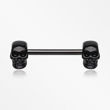 A Pair of Blackline Apocalyptic Skull Nipple Barbell Ring