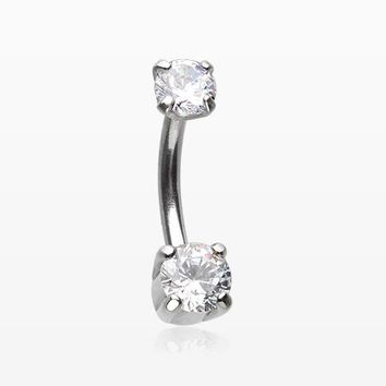 Pristine Gem Sparkles Internally Threaded Curved Barbell
