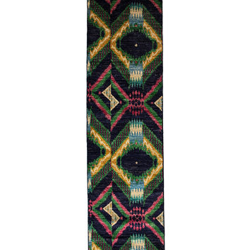Solo Rugs Ikat Oriental Hand-Knotted Runner - Blue