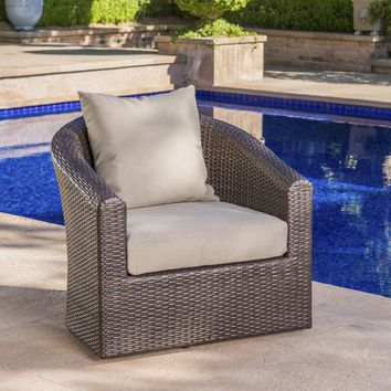 Dillard Outdoor Aluminum Framed Mix Brown Wicker Swivel Club Chair