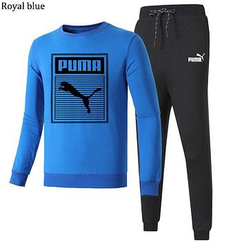 PUMA 2018 autumn and winter new round neck pullover casual trousers two-piece Royal blue