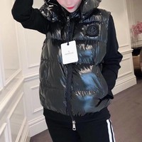 """""""Moncler"""" Women Fashion Solid Color Sleeveless Zip Cardigan Hooded Down Vest Jacket Coat"""