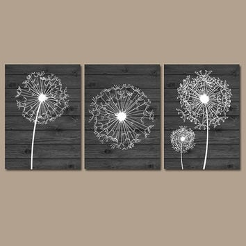 DANDELION Wall Art Wood Effect Bedroom Art Bathroom Wall Art Bedroom Pictures Flower Wall Art Dandelion Set of 3 Home Canvas or Prints