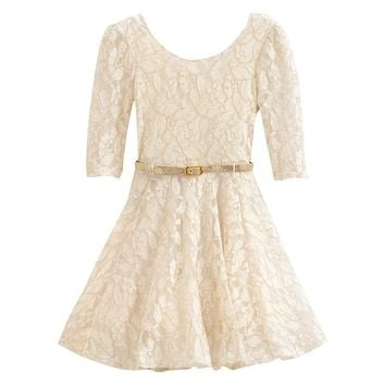 Knitworks Glitter Lace Skater Dress - Girls 4-6x