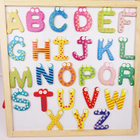 1 set of 26pcs Wooden English Letters Alphabet Magnetic Fridge Magnet Baby Learn (Color: Multicolor)