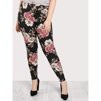 Plus Floral Print Stretch Legging Pants