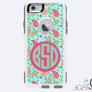iPhone 5/5S Otterbox Commuter Case Monogrammed Lilly Paisley Custom Color Initial Personalized Cell Phone Case Protective Plastic Hard Cover
