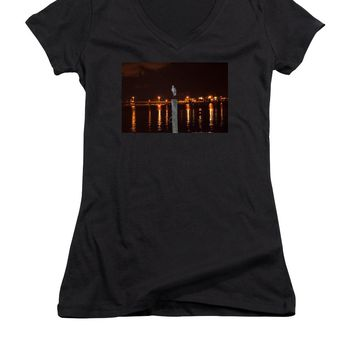 Blue Heron Night - Women's V-Neck T-Shirt