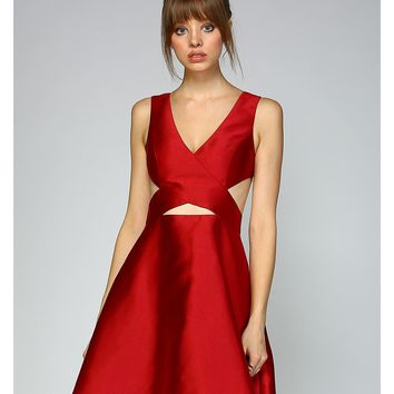 Ravishing Ruby Woven Cutout Dress