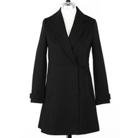 Plain Long-Sleeve Notched Pocket Coat