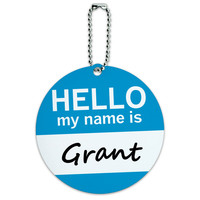 Grant Hello My Name Is Round ID Card Luggage Tag