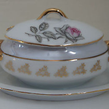 RARE Vintage BOWL W/ LID, SUGAR, Pink Roses & Gold Accents, Made Japan