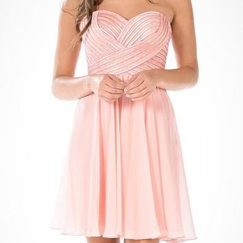 Chiffon Dress with Sequins and Satin Stripes