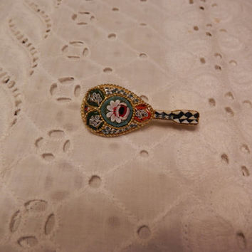 Vintage Goldtone Metal Colorful Art  Floral  Micro Mosaic Instument  Guitar Mandolin Brooch Pin