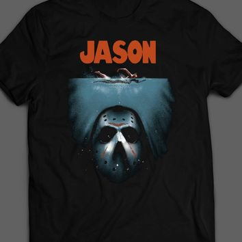 "FRIDAY THE 13TH'S ""JASON"" JAWS PARODY HALLOWEEN T-SHIRT"