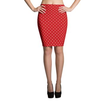 Red Polka Dot Pencil Skirt