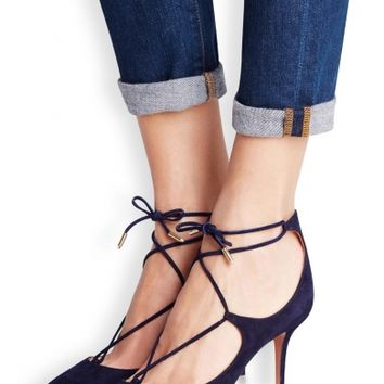 Aquazzura Christy navy suede pumps