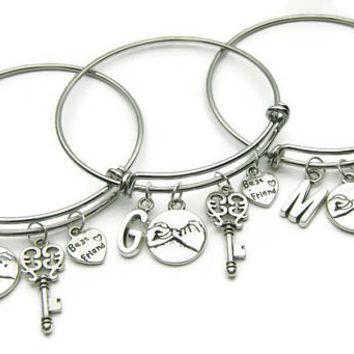 3 Best Friends Are The Key To My Heart Bracelets, Best Friends Bracelets, Friends Bangles, Pinky Promise Bracelet,BFF Bracelets,Personalized