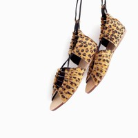 ZARA ANIMAL LEOPARD PRINT FLATS SANDALS SHOES WITH TIE UPS SIZE UK5 US7.5 EUR38
