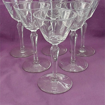 Six Vintage Etched Wine Glasses