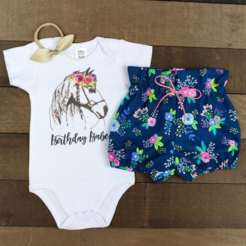 Birthday Babe Floral Bloomers Outfit